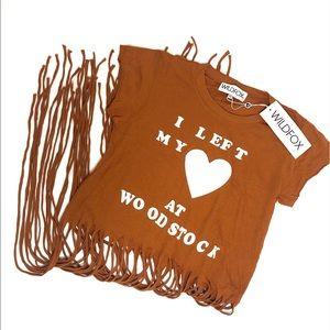 """Wildfox """"I Left my Heart at Woodstock"""" Fringe Tee."""